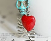 Eternity Necklace - Day of the Dead TURQUOISE Skull