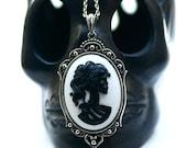 Miss Skeleton Gothic necklace - BLACK WHITE Zombie Girl Victorian Cameo - gunmetal chain