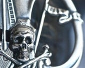Black Pearl Necklace - Skull Crossbones Pirate  - Made in USA Stampings - SOLDERED - Free Domestic Shipping