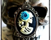 Miss Skeleton Gothic Necklace - 6 Lolita Zombie Cameo Colors - 6 Rose Colors - Free Domestic Shipping