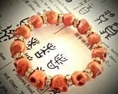 Ix Chel Bracelet - Mayan The Lady Rainbow Rhinestones Goth Skull Beaded - Orange Turquoise Howlite Skull Beads