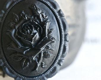 Black Rose Necklace - BLACK Rose Flower Cameo