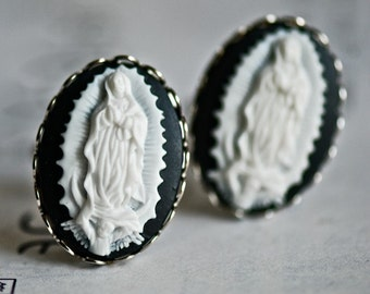 Our Lady of Guadalupe Cufflinks - Snow Noir Cameo - Free Domestic Shipping