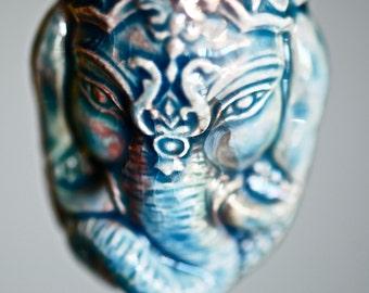 LAST ONE - GANESH Head Necklace - Raku Style Peruvian Cermaic Bottle - Insurance Included