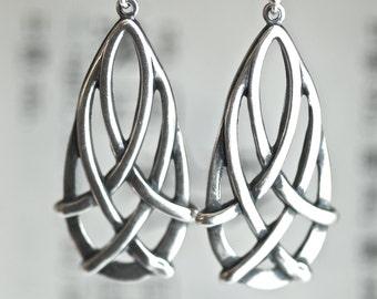 Celtic Teardrop Earrings - Made in USA Findings  - Sterling Silver Ear Wires