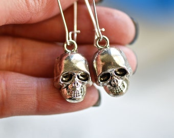 Victor - Antique Silver plated 3D Gothic Skull Charms Earrings  - Silver Plated Large Kidney Ear Wires
