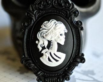 Miss Skeleton Black Ornate Victorian Necklace - White Black Lolita Skull Skeleton Girl Cameo 40x30mm