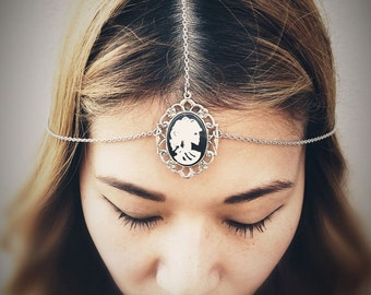 Miss Skeleton Bella Nouveau Chains HeadPiece  - White Black Gothic Zombie Girl Cameo - Made in USA Setting - Insurance Included