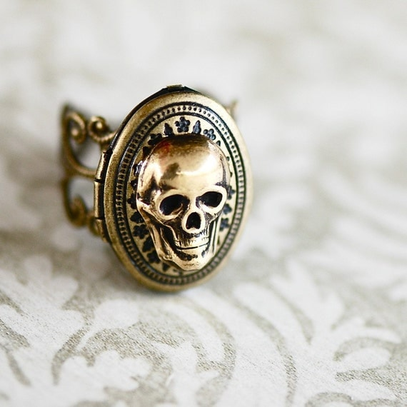 macabre locket ring - antique gold