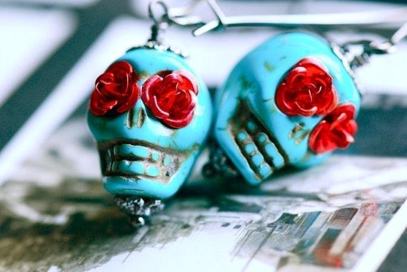 Frida's Flowers - TURQUOISE - gunmetal kidney ear wires