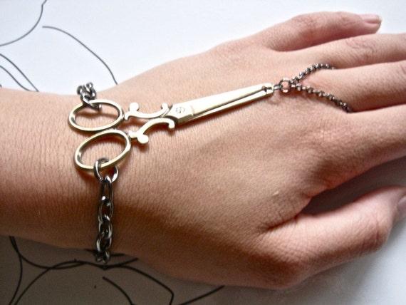 Snip.Snip.Snip Bracelet Ring - antique brass ox victorian scissors - Made in USA brass - gunmetal