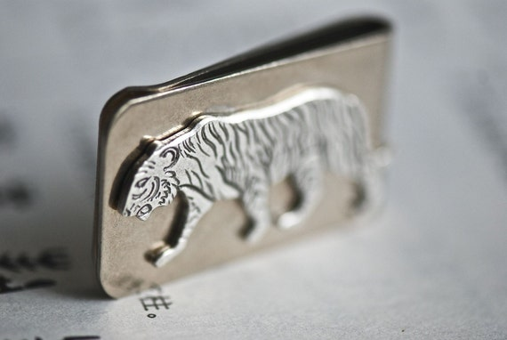 Tiger Money Clip - Made in USA Findings - 2 Finishes - Free Domestic Shipping