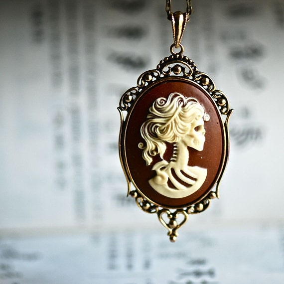 Miss Skeleton Gothic Necklace -  Lolita Zombie Skull Cameo - 4 Different Color Cameos