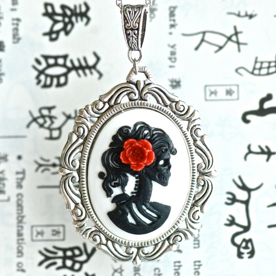 Miss Skeleton Rococo Necklace - Black White  Lolita Zombie Gothic Cameo - Red Resin Flower - Free Domestic Shipping