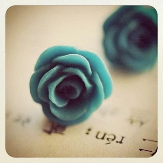 Rosalie Earrings - Matte Turquoise Blue Resin Rose - Insurance Included