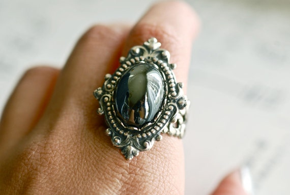 Blasphemy Ring - VIctorian Goth Vintage Swarovski Jet Hematite Cabochon - SOLDERED - Made in USA Components -  Insurance Included