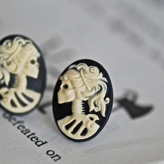 Miss Skeleton Cameo earrings - Halloween Zombie Gothic Girl - 6 Color Options - Free Domestic Shipping