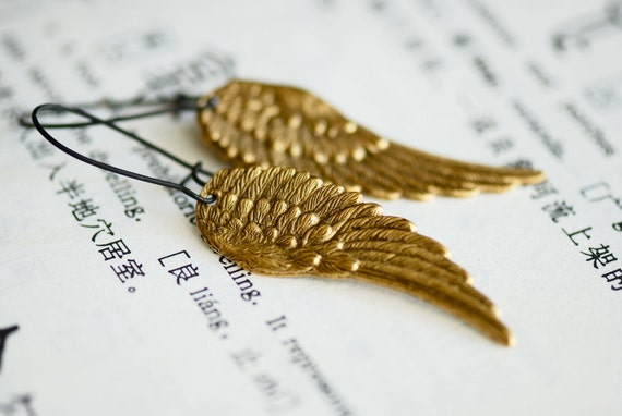NEW - Dark Angel earrings - Made in USA wing stampings - Gold Ox 24k plated