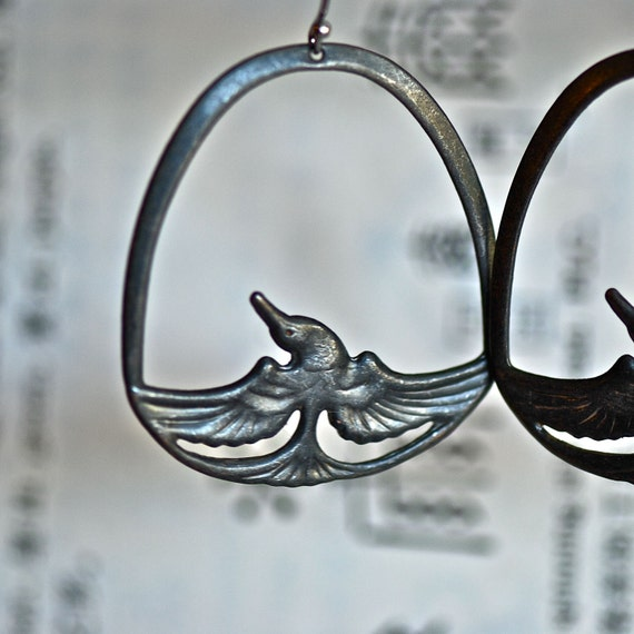 NEW - Fenghuang earrings - Phoenix Rusty Black Patina  - Made in USA stampings