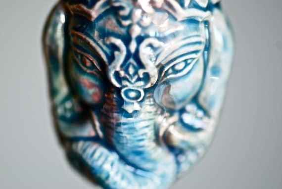 LAST ONE - GANESH Head Necklace - Raku Style Peruvian Cermaic Bottle - Free Domestic Shipping