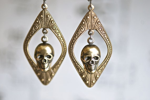 MAXINE - Victorian Ornate Gothic Skull Earrings - Made in USA Components - Insurance Included