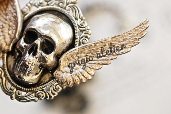 LAST ONE - Grigio Necklace - Glass Beaded Skull Crossbones Patina Gossamer Wings  - Free Domestic Shippinf