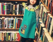 Turquoise Organic Cotton Vintage Camera Dress... Sizes 12M through 8