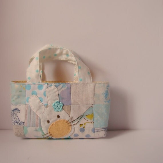 Tote easter patch blue and yellow