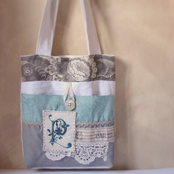 Bag blue and grey Paris with monogram