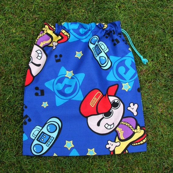 Dude with ghetto blaster blue cotton drawstring bag for library toys school storage