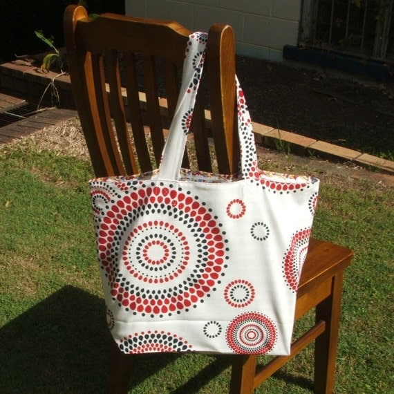 Shopping or beach bag, dot circles red black, spacious, strong, lined, cotton