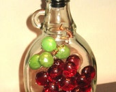 Clear Glass Dispenser Bottle Red 3-D grapes Copper Wire