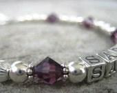 Mother Name Bracelet-SARAH Sterling Silver/Swarovski Crystal- Mothers Day,  New Baby, Birthday, Anniversary