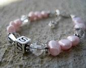 Flower Girl/ Baptism Pink Pearl Bracelet -Pearl/Swarovski Crystal Initial Name Bracelet- Baptism, 1st Communion, Birthday, Flower Girl