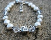Freshwater Pearl/Swarovski Crystal Initial Bracelet- Baptism, 1st Communion, Birthday, Flower Girl