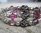 Personalized Mother's Name Bracelet Triple Strand Three Name Mother/Grandma Bracelet- Sterling Silver Swarovski Crystal