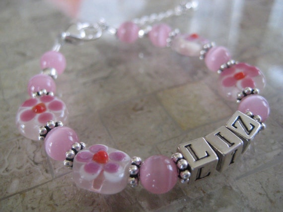 Sugar and Spice Little Girl's Name Bracelet- Sterling Silver, Glass beads- Custom Order