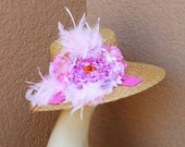 Kentucky Derby Hat, Church Hat, Pink Peony, Feathers, Wedding Hat, Tea Party Hat