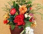 Tuscan Mediterranean Silk Flower Arrangement, Peonies, Hydrangeas, Mums
