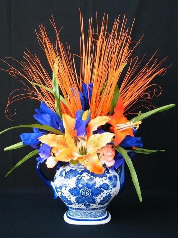 Modern Art Deco Silk Floral Arrangement, Orange Tiger Lilies, Blue Iris,  Permanent Botanical