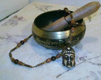 Buddha Carved Bone Amulet Pendant Adjustable Necklace