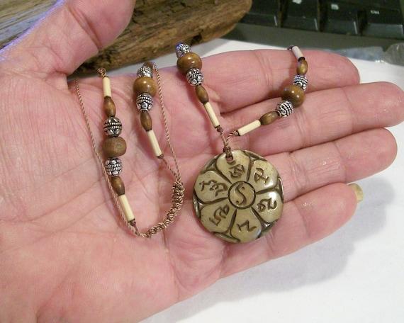 Om Mani Padme Hum Carved Bone Amult Pendant Necklace