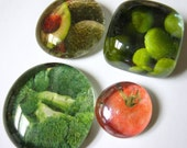 Veggies - Set of 4 Glass Magnets