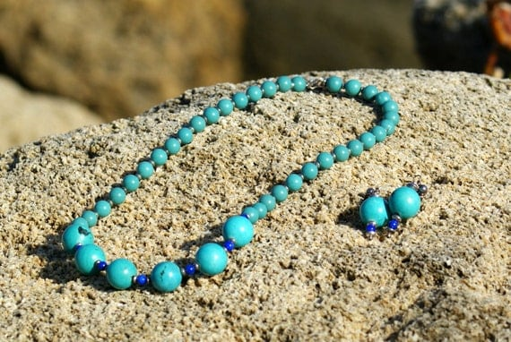 Turquoise Blue Lapis Silver Necklace