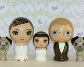 Custom Wedding Cake Toppers with Child and Two Pets Hand Painted on Wooden Kokeshi Dolls