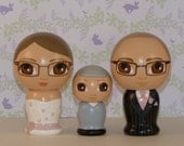 Custom Wedding Cake Toppers with Child Hand Painted on Wooden Kokeshi Dolls