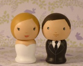 Semi Custom Wedding Cake Toppers Hand Painted on Wooden Kokeshi Dolls Medium