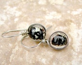 Black Glow in the Dark Earrings Silver Filled Wire Wrapped 8mm Bead