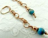 Copper Leverback Earrings Rainbow Calsilica Long Drop Earrings Southwestern Inspired Jewelry Were 15.00