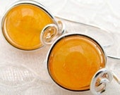 Bright Orange Jade Silver Filled One Piece Wire Wrapped Comfortable Earrings